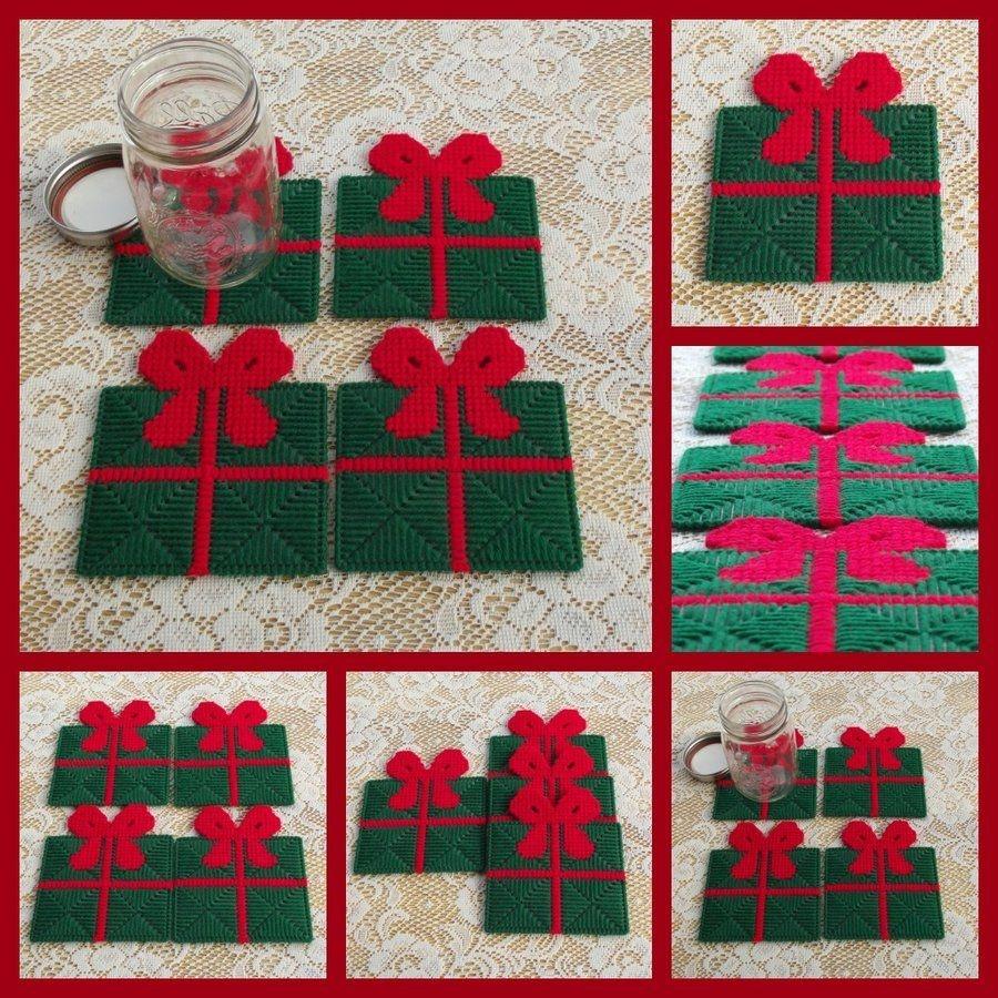 Free Plastic Canvas Coaster Patterns | Set Of 4 Plastic Canvas - Free Printable Plastic Canvas Christmas Patterns