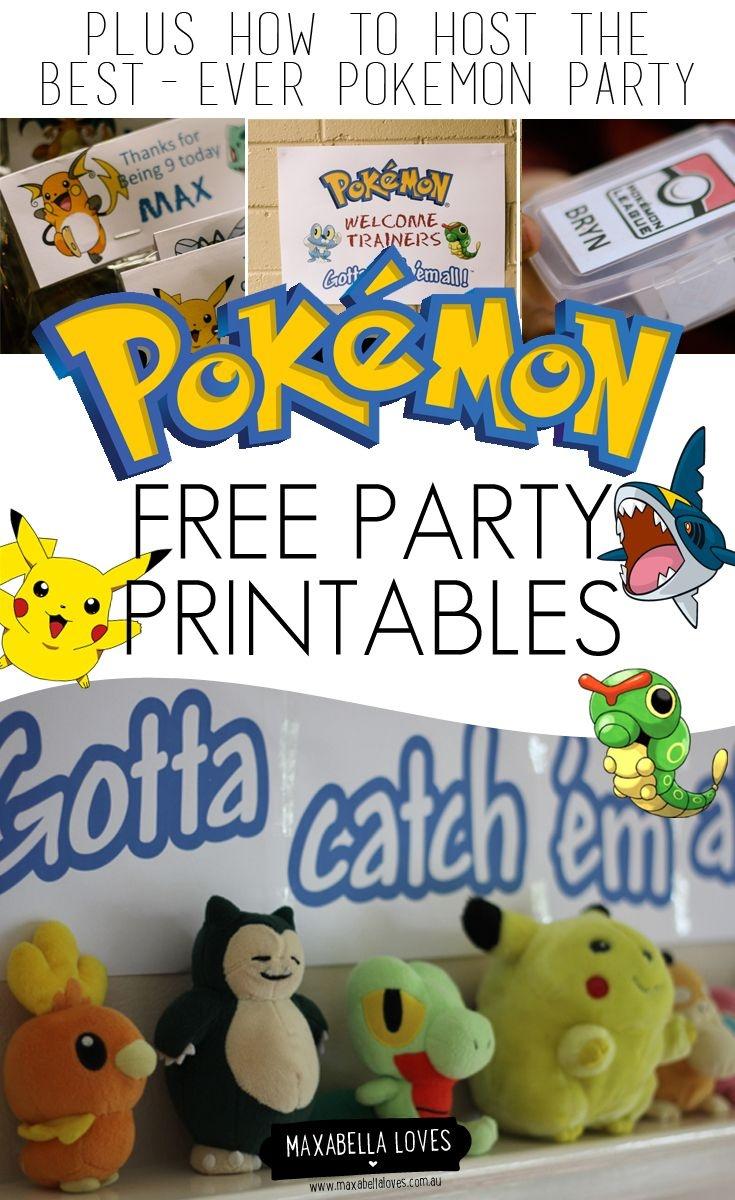 Free Pokemon Party Printables | Pokémon Party | Pokemon Party - Free Printable Pokemon Thank You Tags