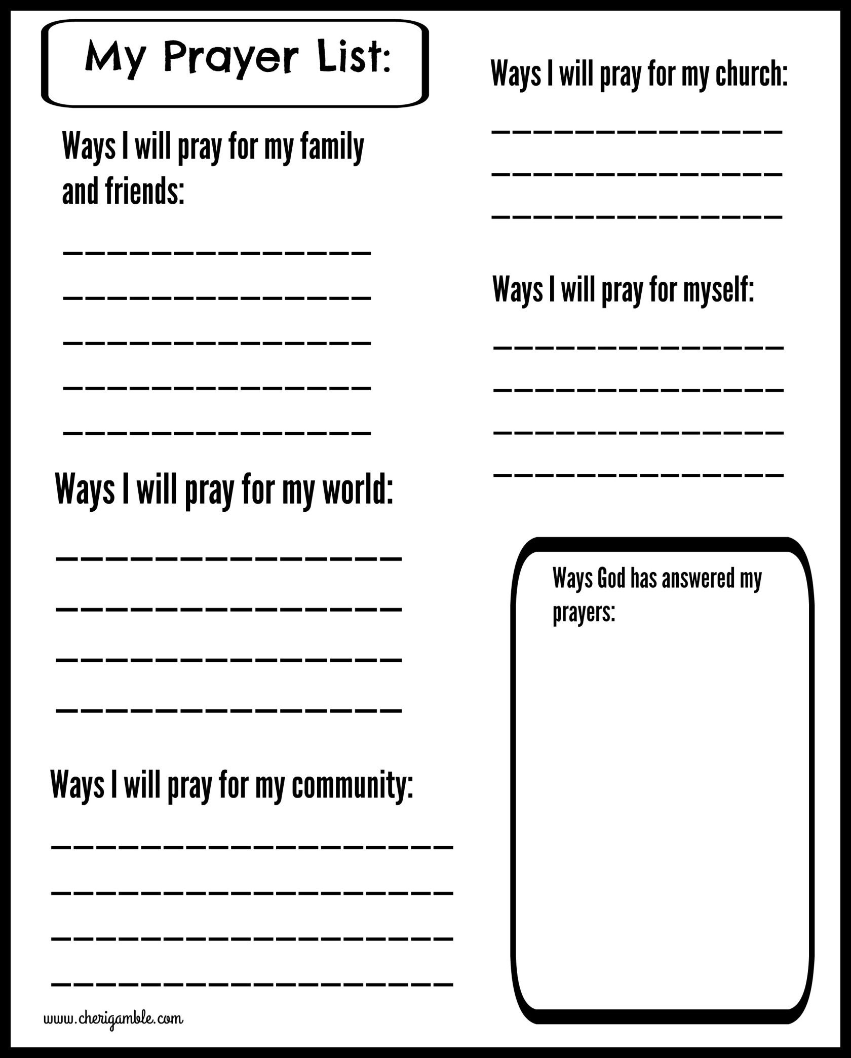 Free Prayer Journal Pages Designed For Children And Teens - Free Printable Prayer List