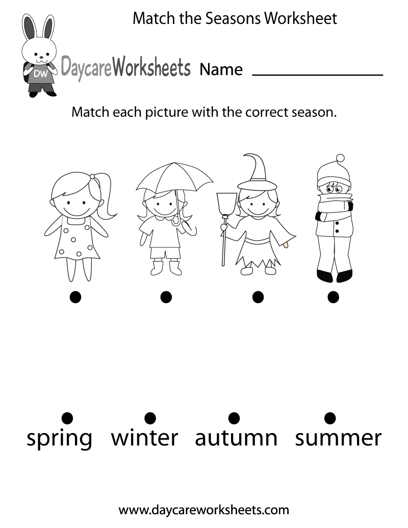 Free Preschool Match The Seasons Worksheet - Free Printable Seasons Worksheets For Kindergarten