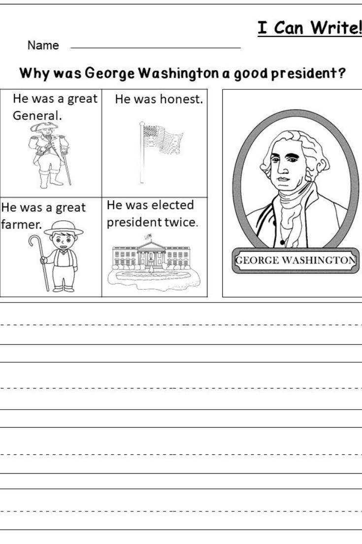 Free President's Day Writing Worksheet   Kindergarten Writing And - Free Printable President Worksheets
