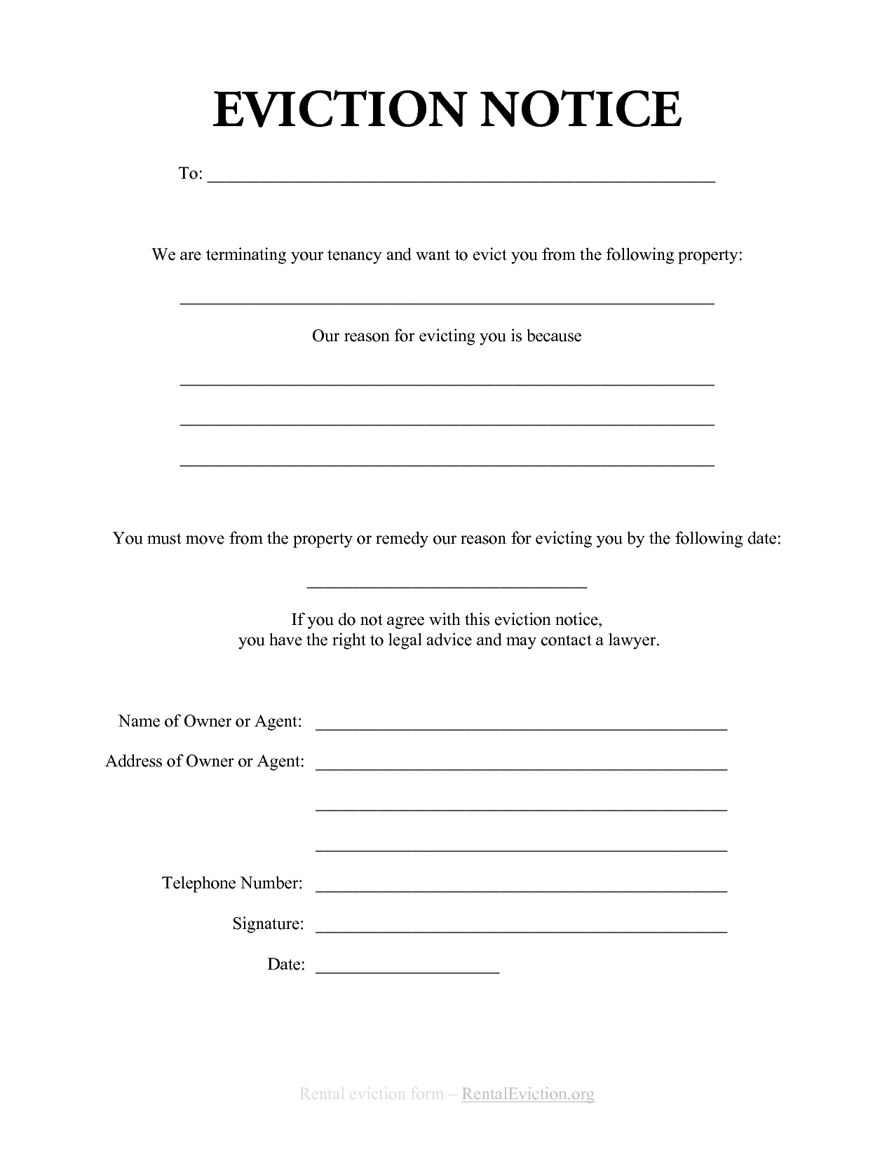 Free Print Out Eviction Notices | Free Rental Eviction Notice | Rent - Free Printable Eviction Notice