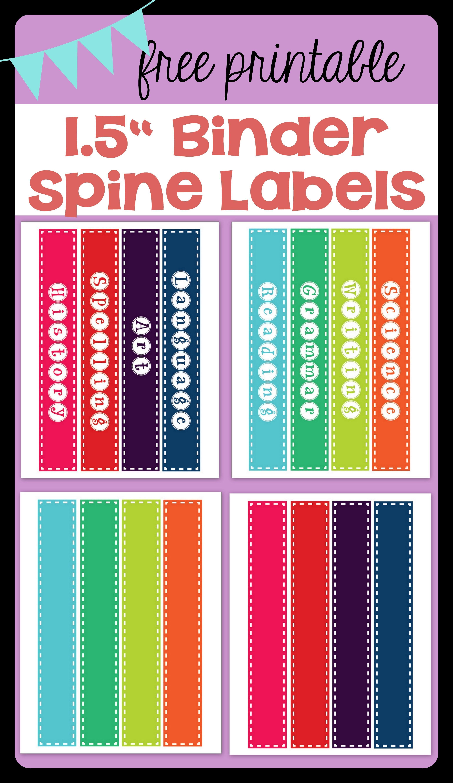"""Free Printable 1.5"""" Binder Spine Labels For Basic School Subjects - Printable Binder Spine Inserts Free"""