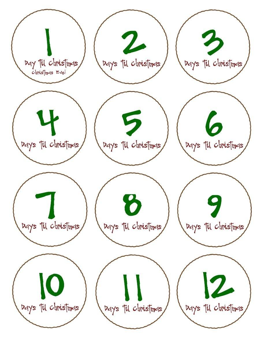 Free, Printable '12' Days Till Christmas Countdown Tags. Pdf To - Free Printable 12 Days Of Christmas Gift Tags