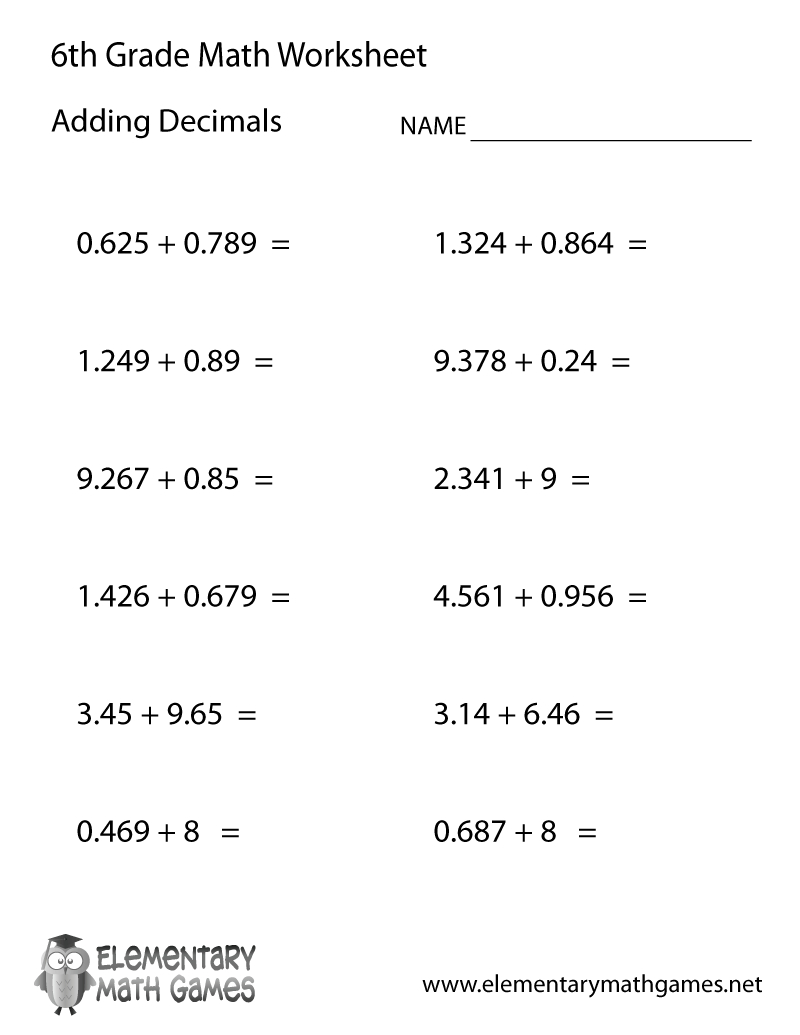 Free Printable Adding Decimals Worksheet For Sixth Grade - Free Printable Math Worksheets For 6Th Grade