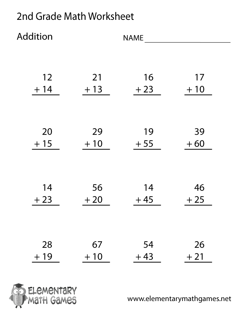 Free Printable Addition Worksheet For Second Grade - Free Printable Math Worksheets For 2Nd Grade