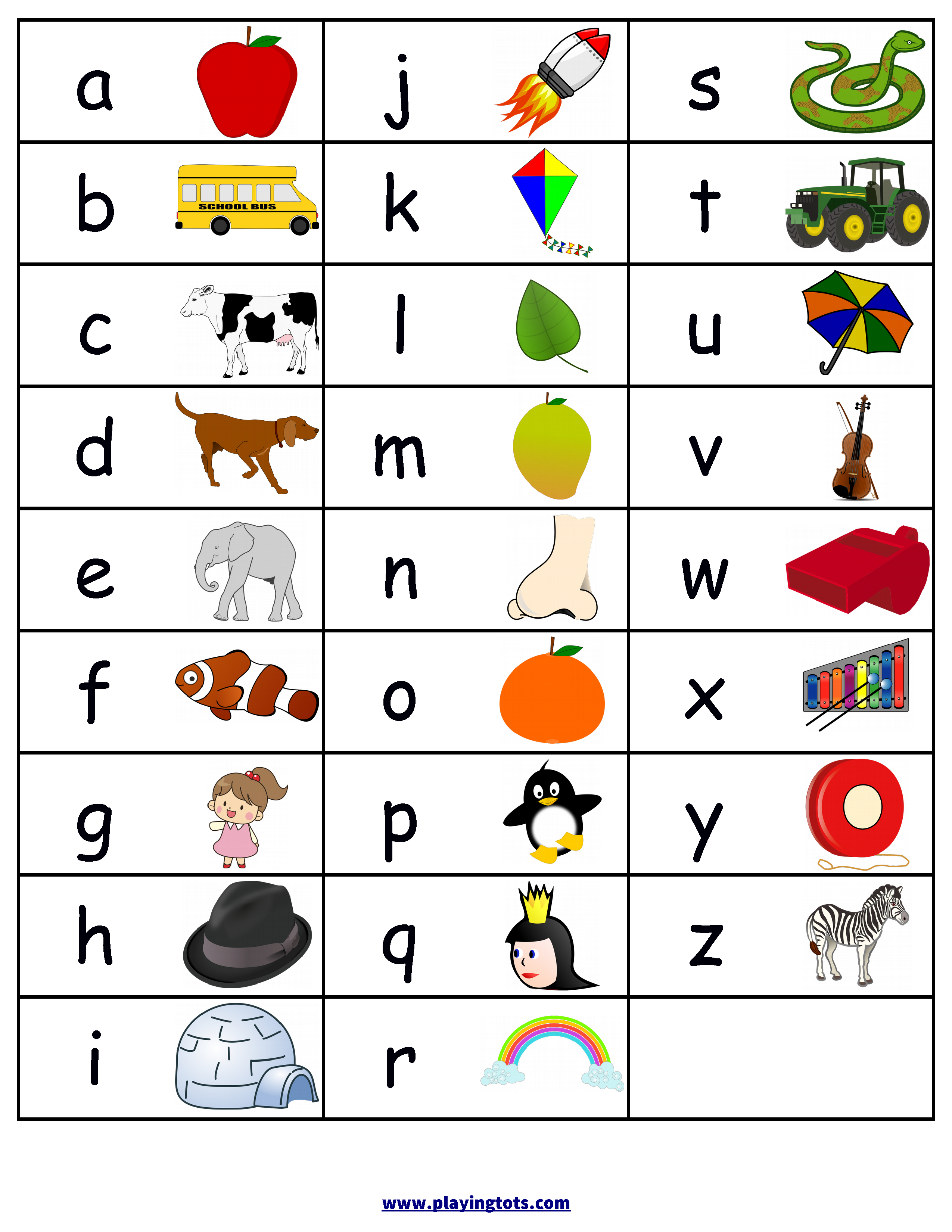 Free Printable Alphabets Chart With Pictures | Baby Bedroom - Free Printable Alphabet Chart