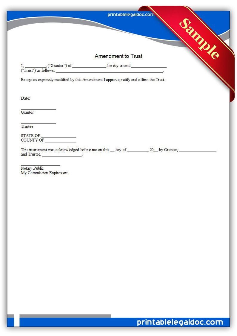 Free Printable Amendment To Trust | Sample Printable Legal Forms - Free Printable Will And Trust Forms