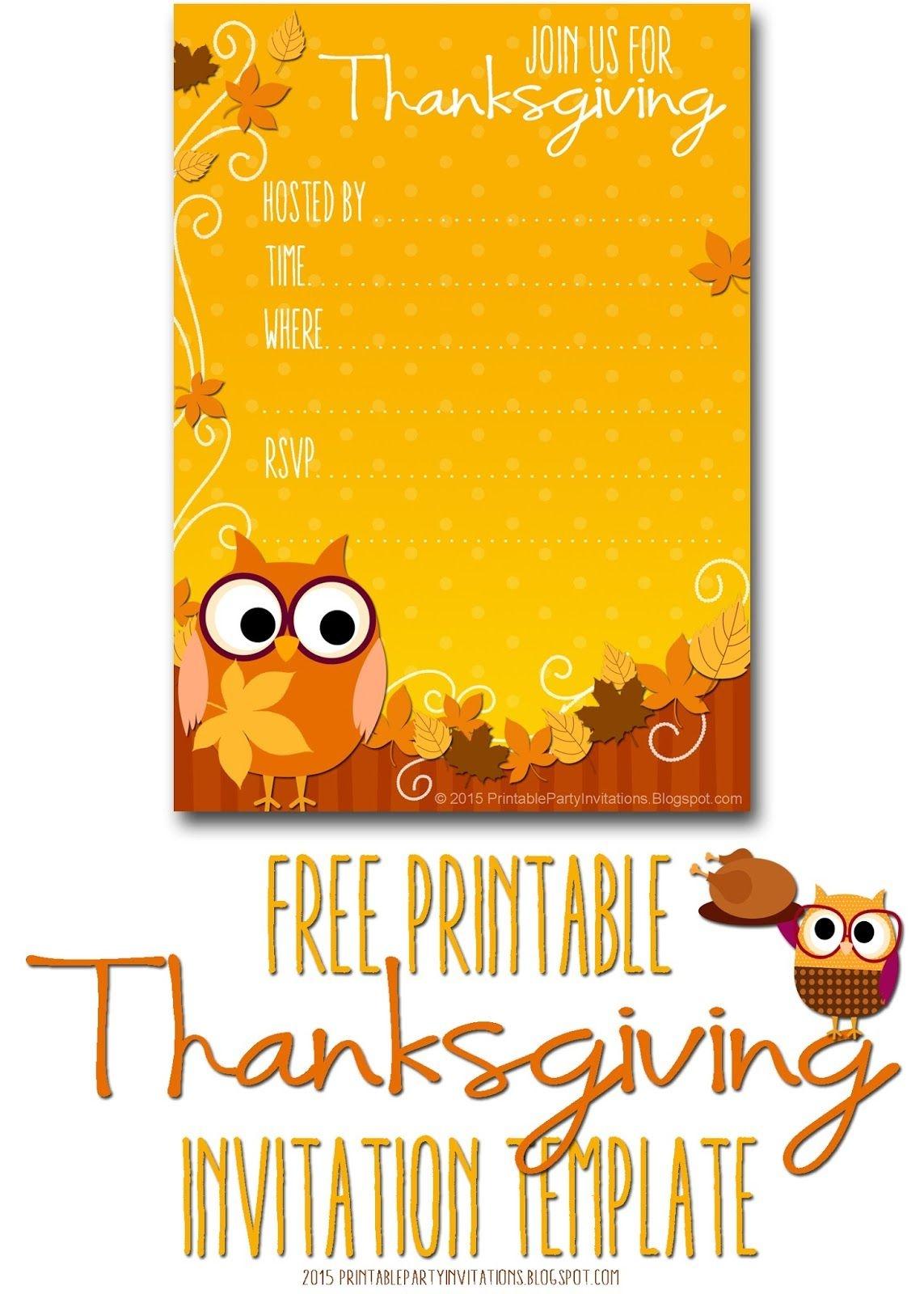 Free Printable Autumn Owl Thanksgiving Invitation Template | Party - Free Printable Thanksgiving Dinner Invitation Templates