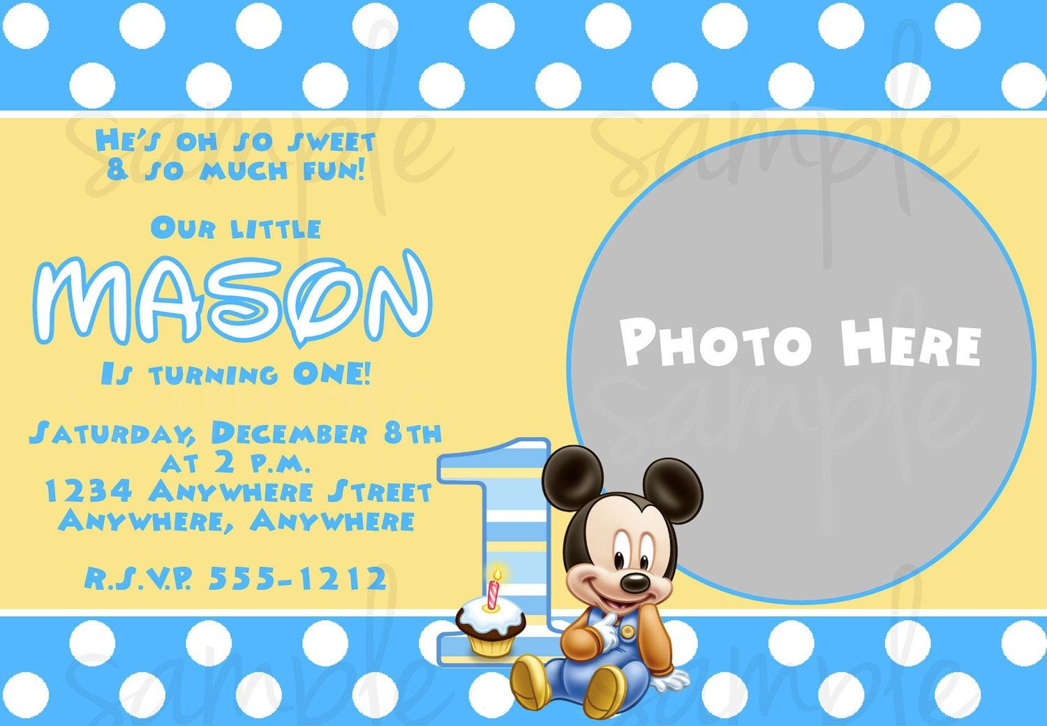 Free Printable Baby Mickey Mouse 1St Birthday Invitations | Jakes - Free Printable Baby Mickey Mouse Birthday Invitations