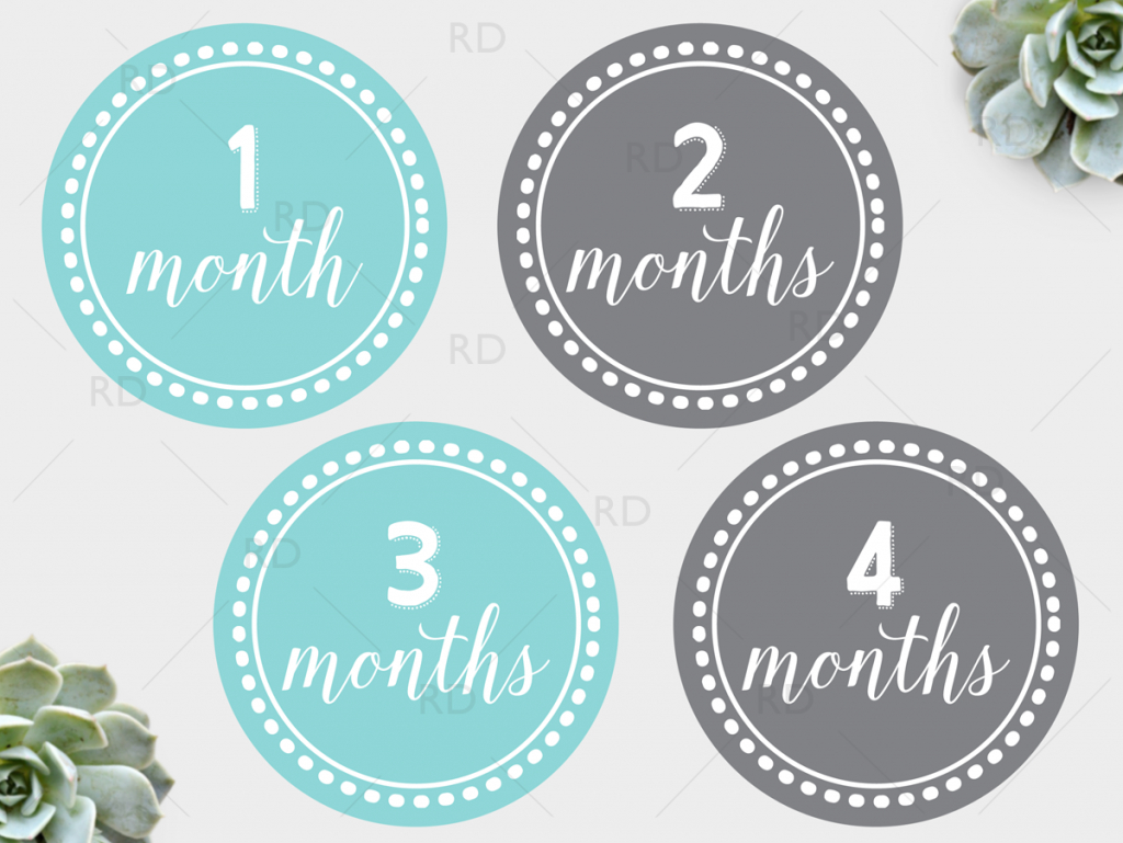Free Printable Baby Monthly Dots - Months 1 Through 12. Just - Free Printable Baby Month Stickers