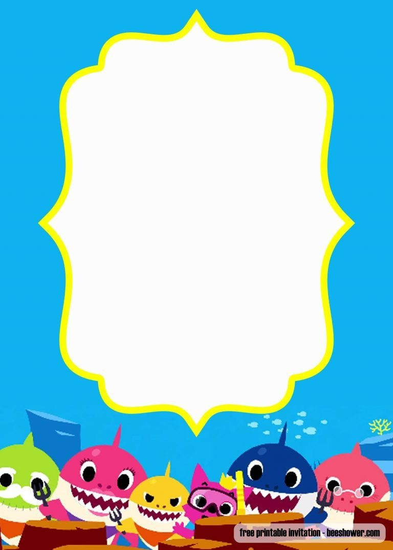 Free Printable Baby Shark Pinkfong Birthday Invitation Template - Free Baby Shower Invitation Maker Online Printable