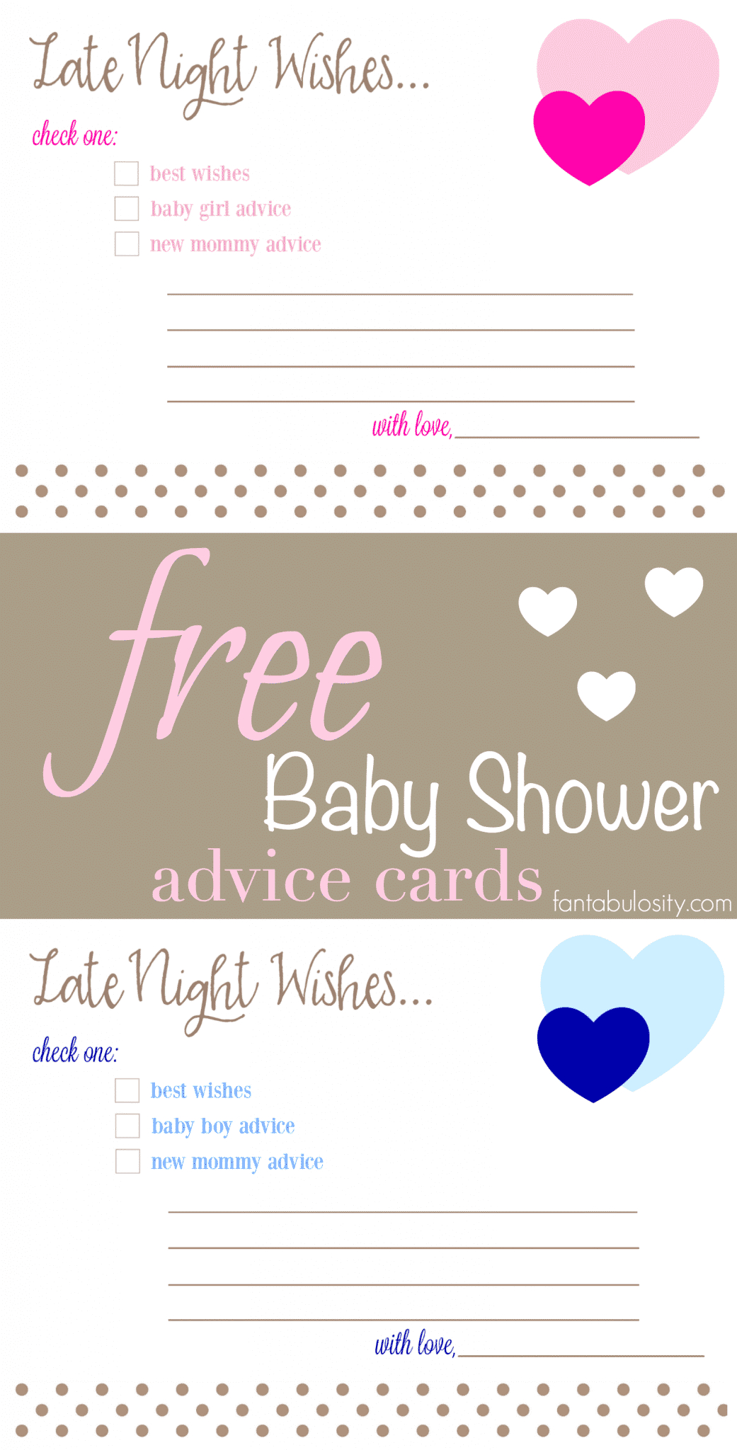Free Printable Baby Shower Advice & Best Wishes Cards - Fantabulosity - Baby Prediction And Advice Cards Free Printable