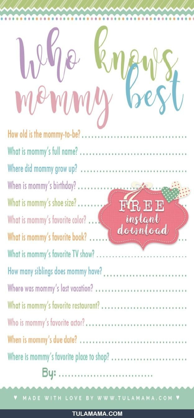 Free Printable Baby Shower Games Who Knows Mommy The Best   Gender - Free Printable Baby Shower Games Who Knows Mommy The Best