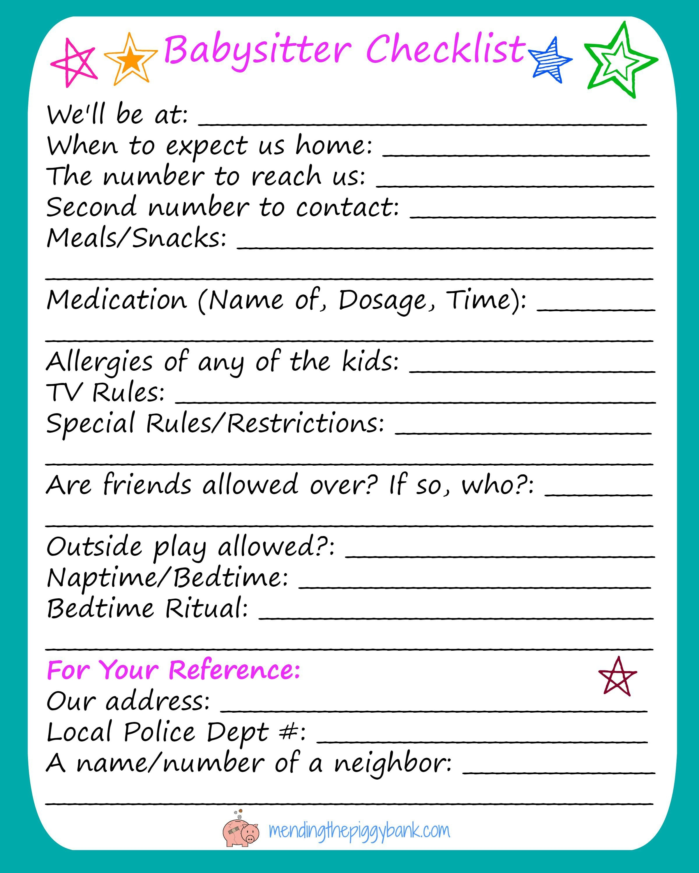 Free Printable Babysitter Checklist … | Babysitting | Babys… - Babysitter Notes Free Printable