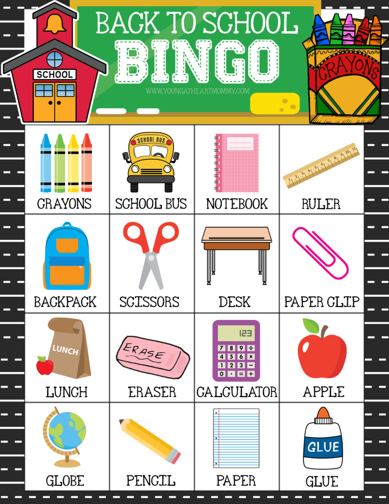 Free Printable Back To School Bingo Game Cards | School | Back To - Free Printable Back To School