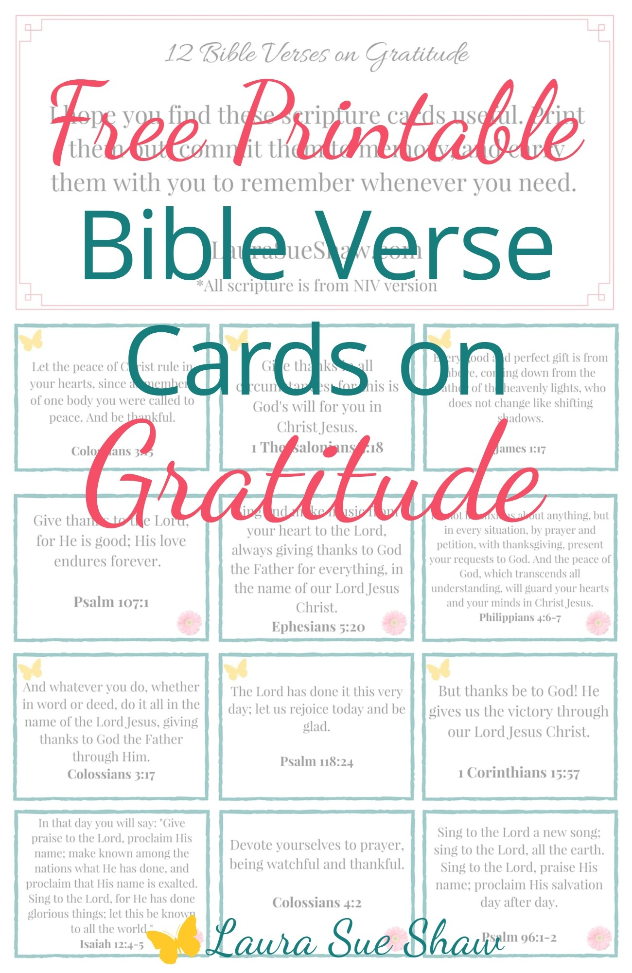 Free Printable Bible Verse Cards On Gratitude - Laura Sue Shaw - Free Printable Bible Verse Cards