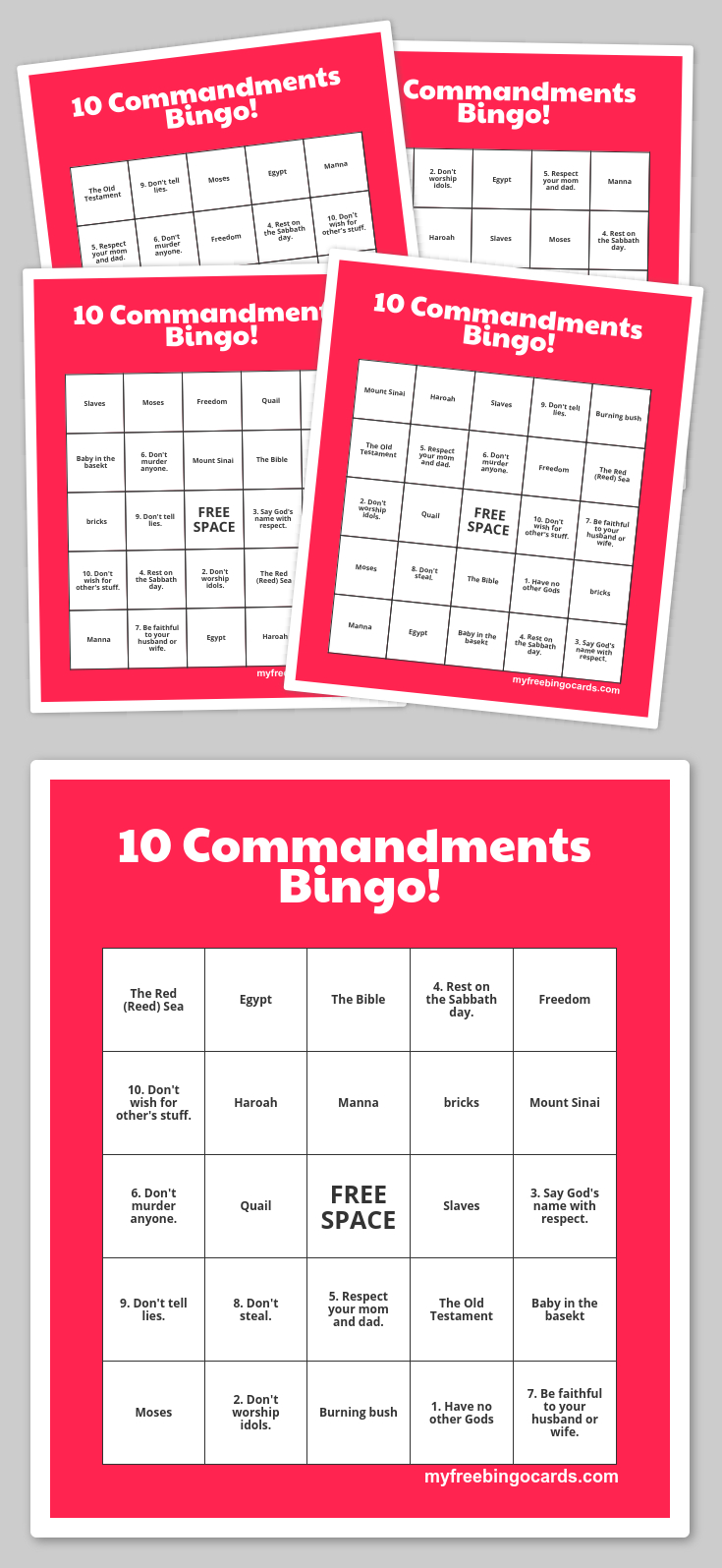 Free Printable Bingo Cards   The 10 Commandments   Sunday School - Free Printable Bible Bingo For Preschoolers