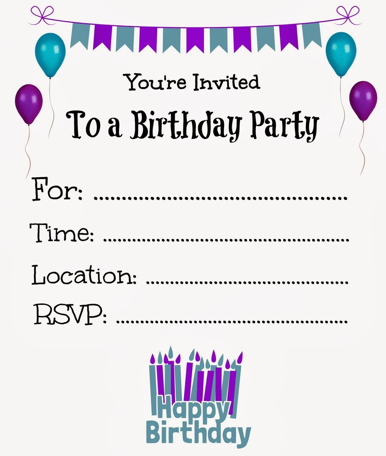 Free Printable Birthday Invitations For Kids #freeprintables - Free Printable Birthday Invitation Cards