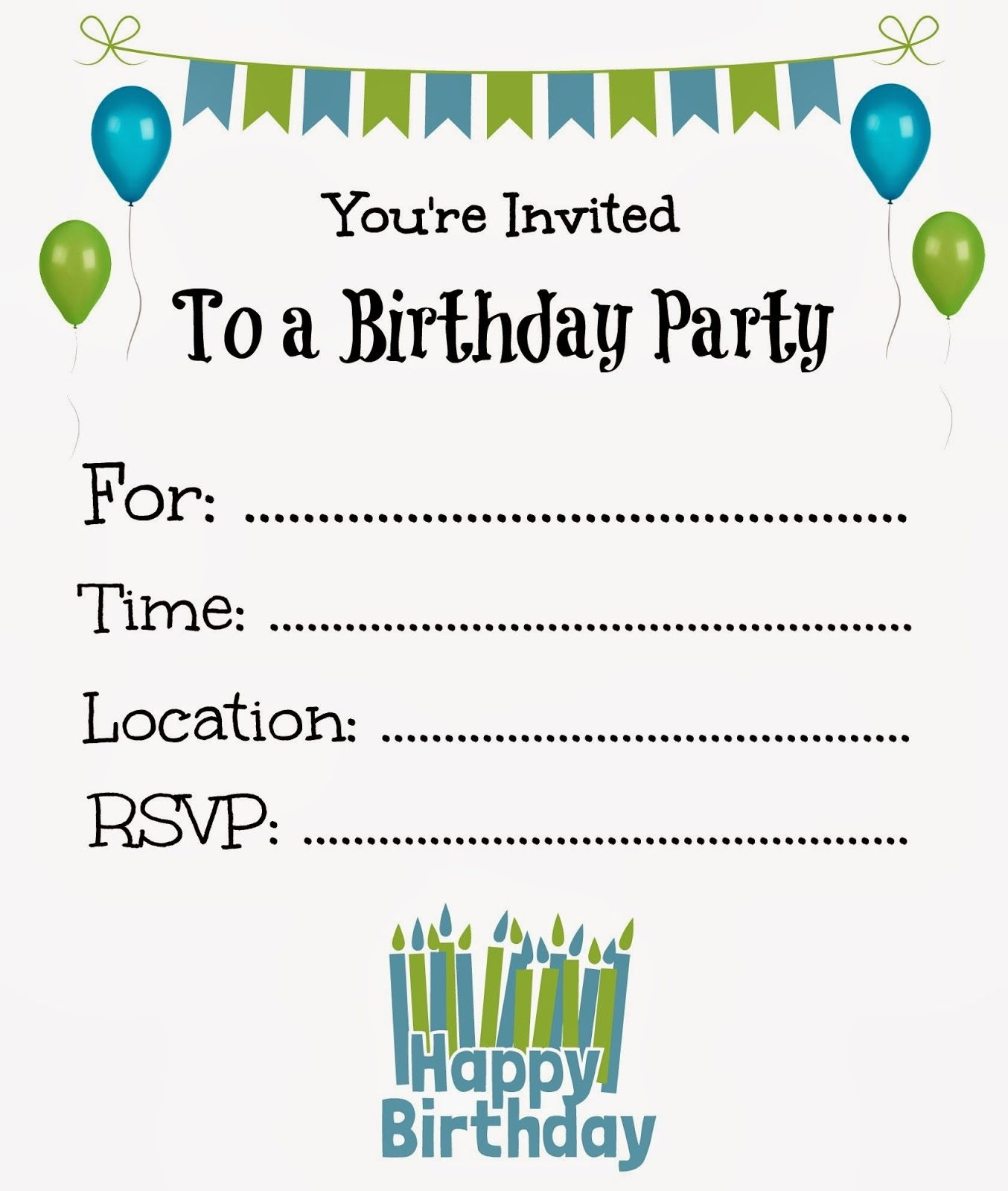 Free Printable Birthday Invitations For Kids #freeprintables - Free Printable Kids Birthday Cards Boys