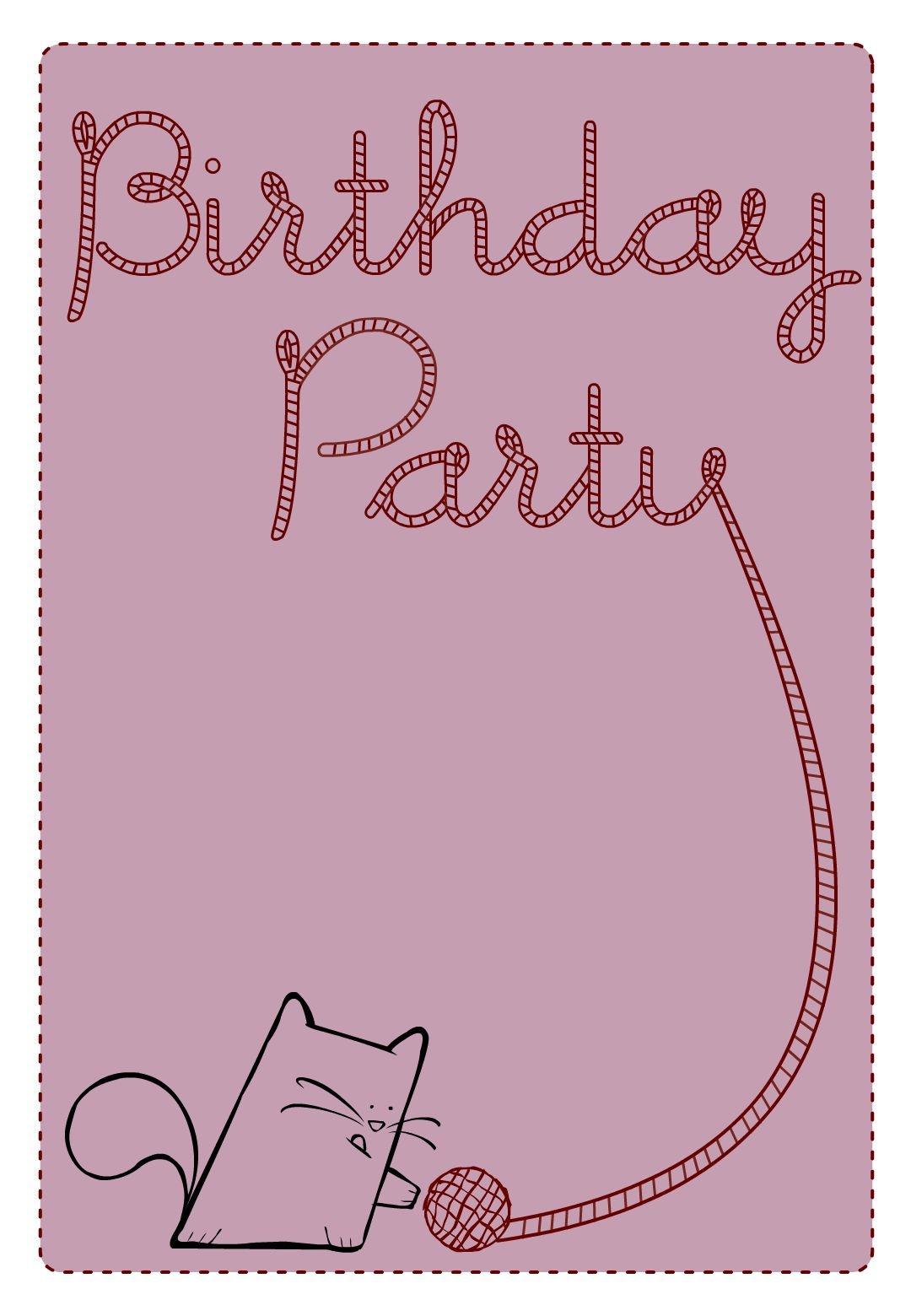 Free Printable Birthday Party Cat Invitation | Birthday Party Ideas - Free Printable Birthday Invitations Pinterest