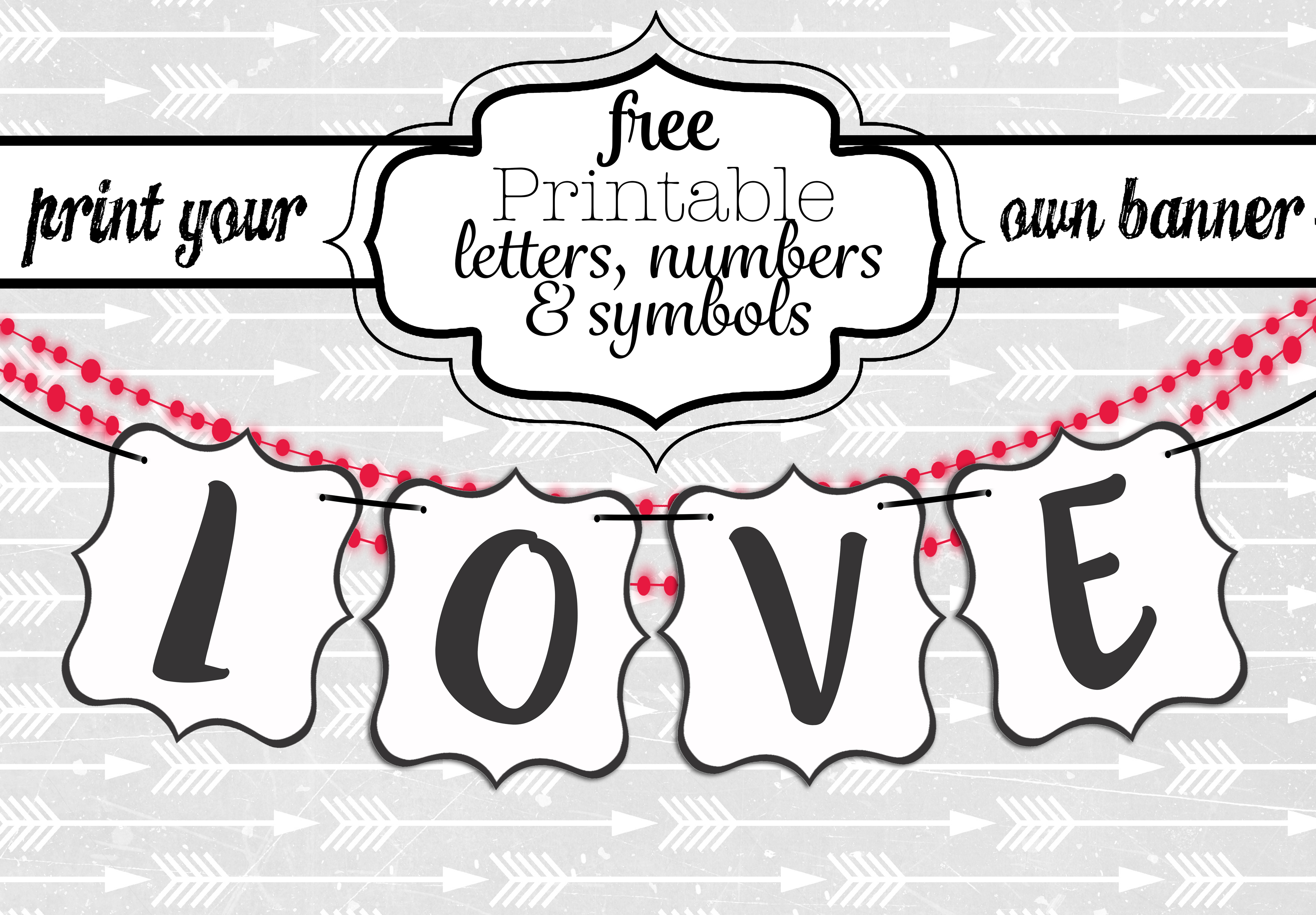 Free Printable Black And White Banner Letters   Diy Swank - Free Printable Whole Alphabet Banner