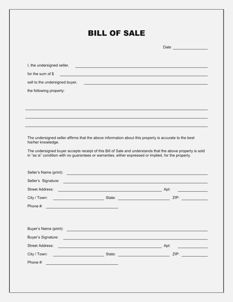 Free Printable Blank Bill Of Sale Form Template – As Is Bill Of Sale - Free Printable Generic Bill Of Sale