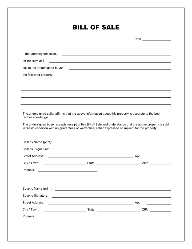 Free Printable Blank Bill Of Sale Form Template - As Is Bill Of Sale - Free Printable Legal Documents Forms