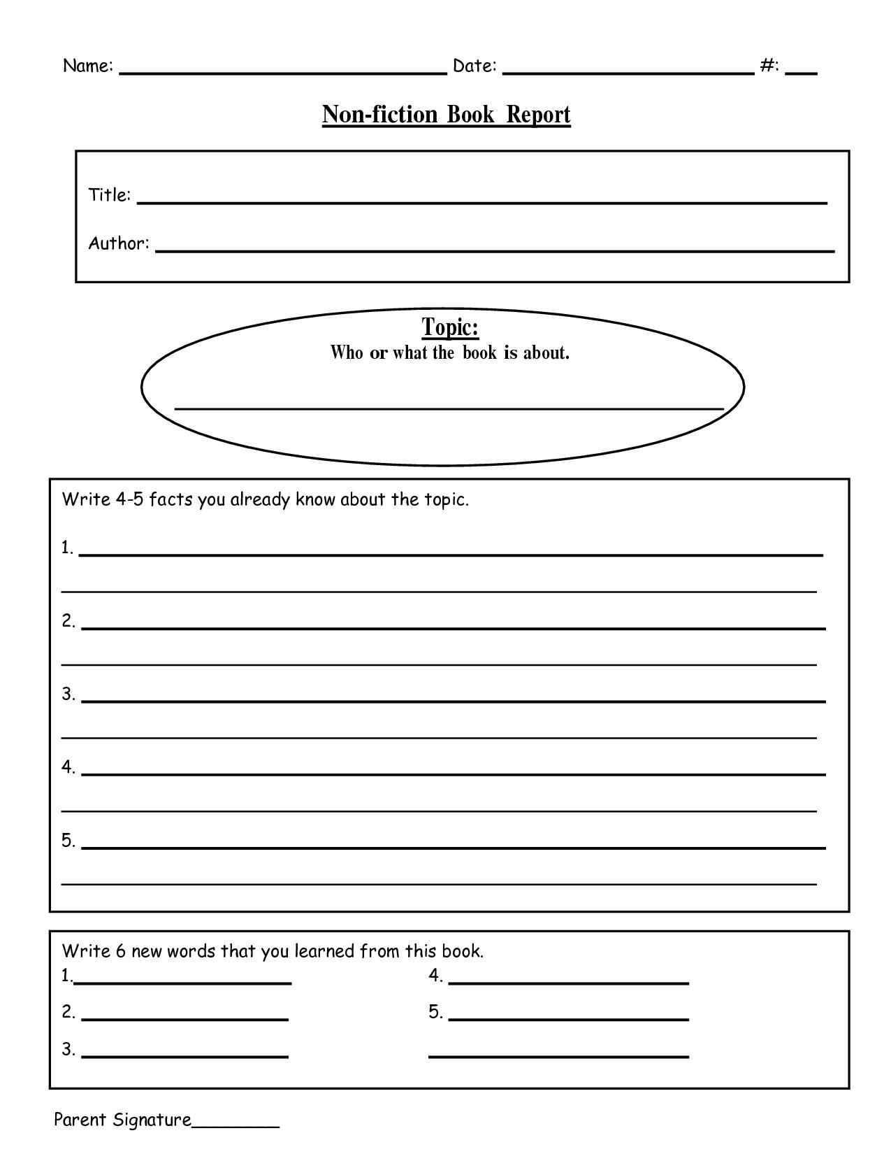 Free Printable Book Report Templates | Non-Fiction Book Report.doc - Free Printable Book Report Forms