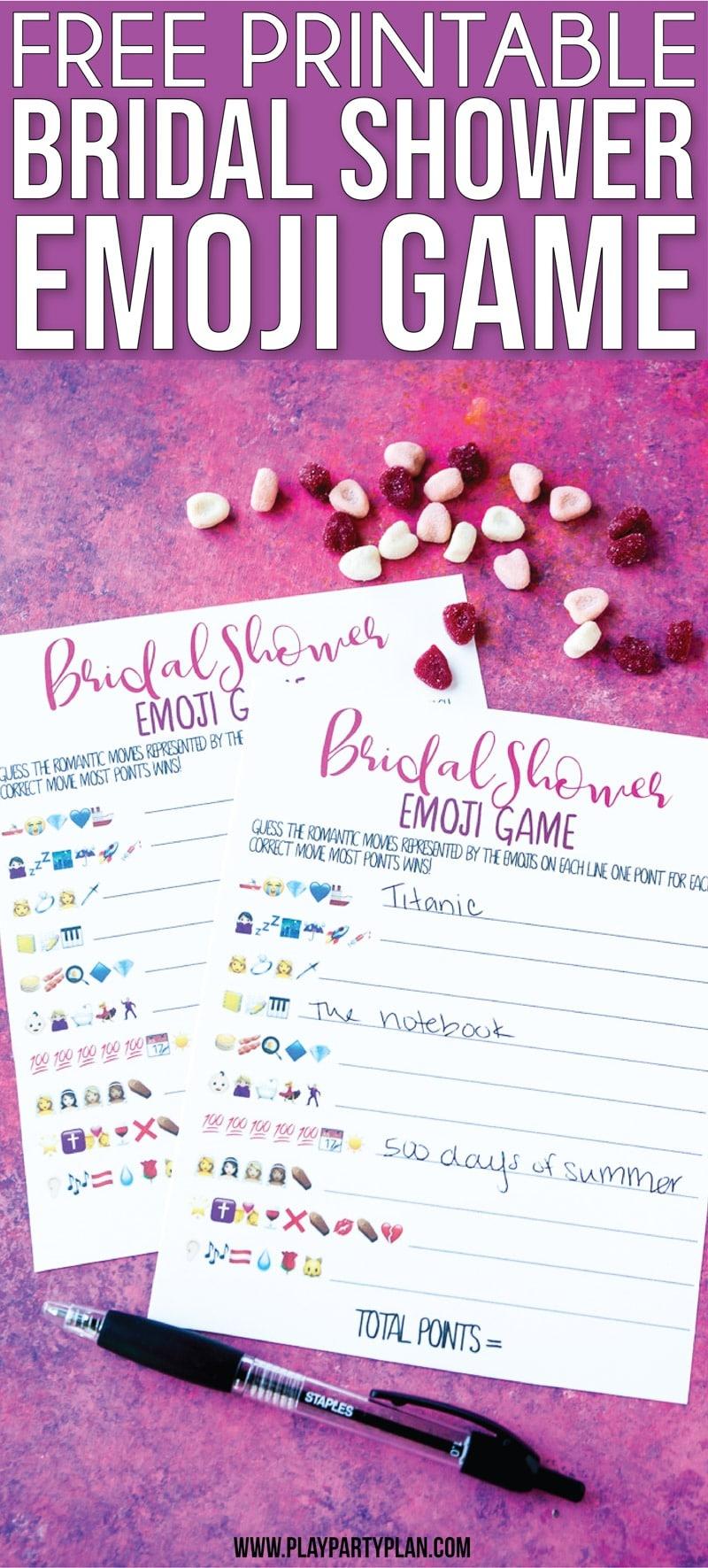 Free Printable Bridal Shower Name The Emoji Game - Free Printable Group Games