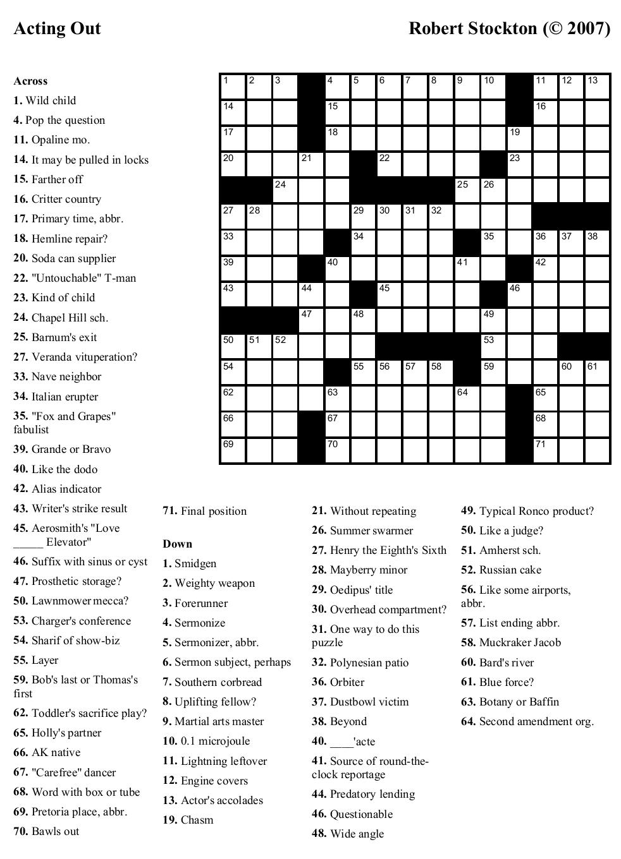 Free Printable Cards: Free Printable Crossword Puzzles   Printable - Free Printable Crosswords Medium