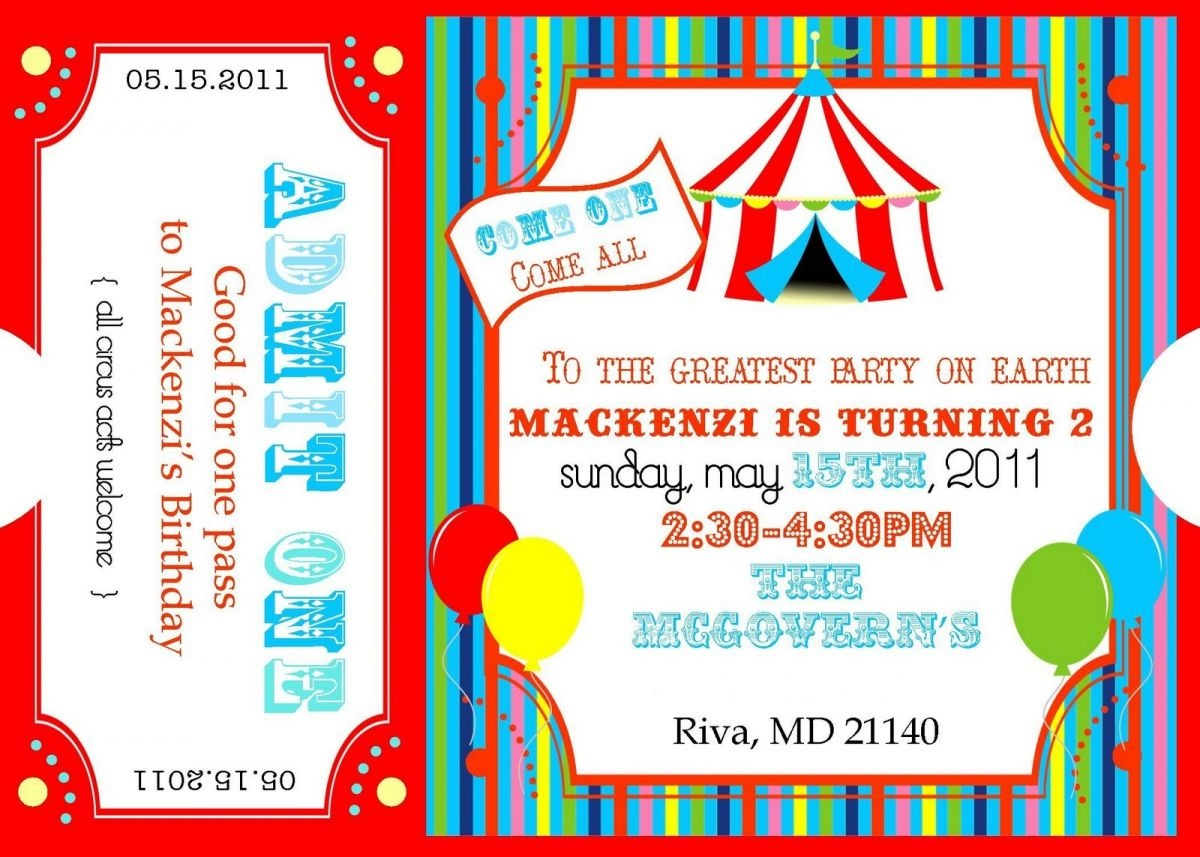 Free Printable Carnival Ticket Invitations | Projects To Try - Free Printable Ticket Invitation Templates