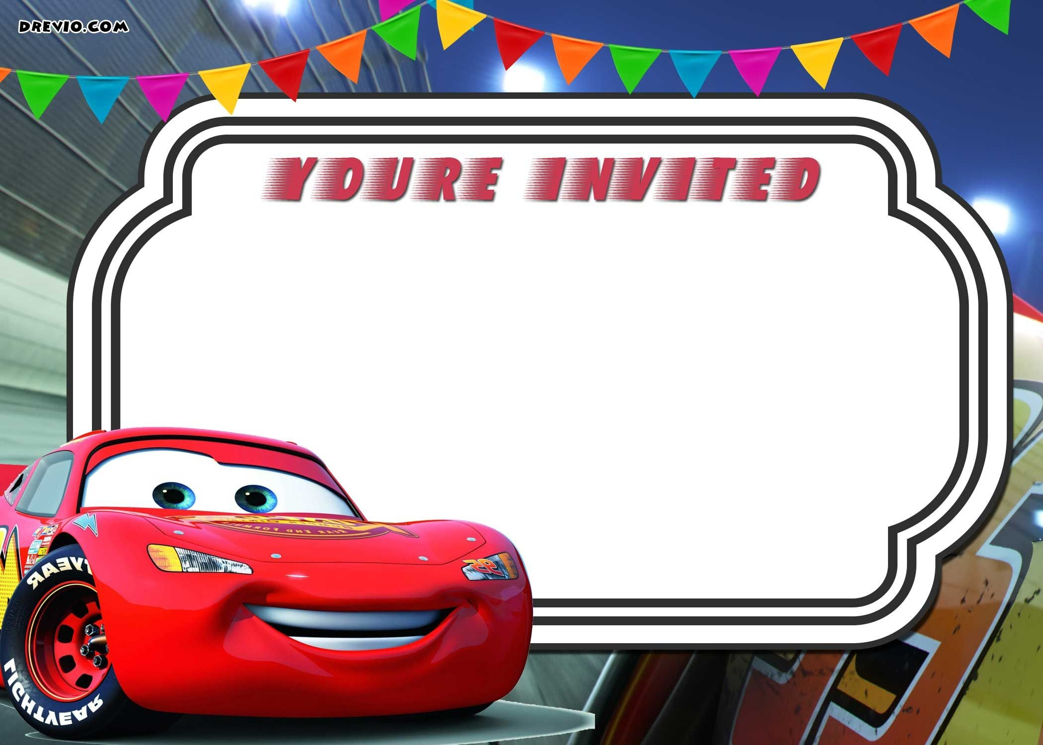 Free Printable Cars 3 Lightning Mcqueen Invitation Template | Go - Free Printable Cars Water Bottle Labels