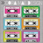 Free Printable Cassette Tape Clipart | Ra Door Decs | Party, 80S Party   Printable 90S Props Free