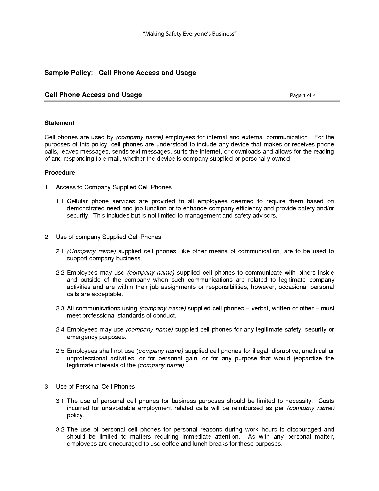 Free Printable Cell Phone Policy Form (Generic) | Sample Printable - Free Printable Legal Documents