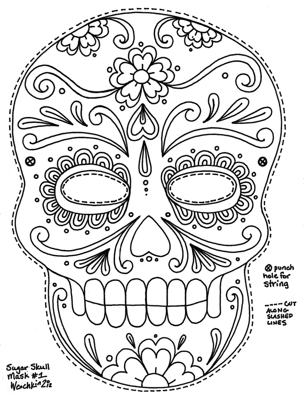 Free Printable Character Face Masks | Seasonal Activities | Skull - Free Printable Sugar Skull Day Of The Dead Mask