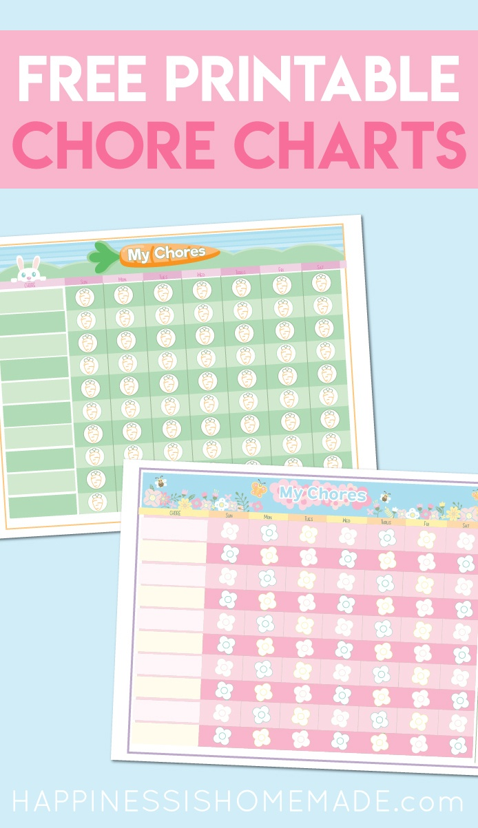 Free Printable Chore Chart For Kids - Happiness Is Homemade - Free Printable Charts