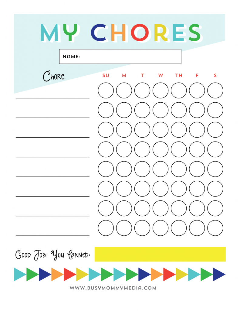 Free Printable - Chore Chart For Kids | Ogt Blogger Friends | Chore - Free Printable Chore Charts For Kids With Pictures