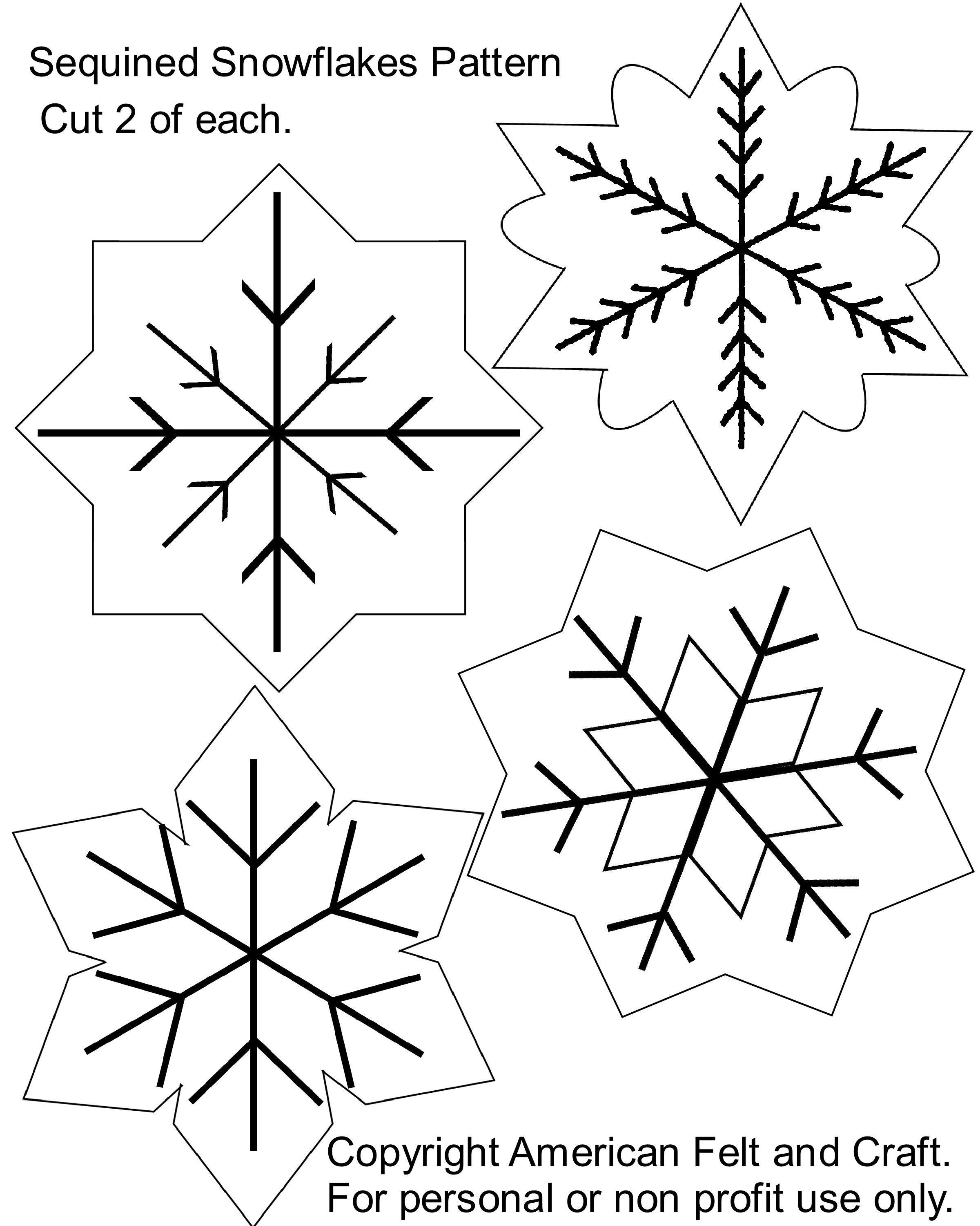 Free Printable Christmas Cutouts Sequin Snowflakes Felt Christmas - Free Printable Christmas Ornament Patterns