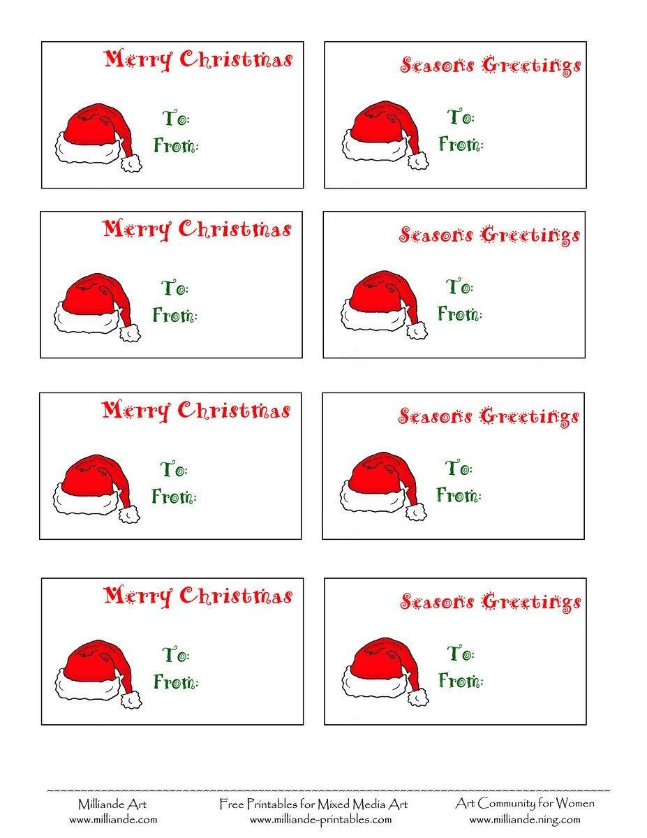Free Printable Christmas Labels Santa Hat Christmas Gift Tags To - Free Printable Holiday Labels