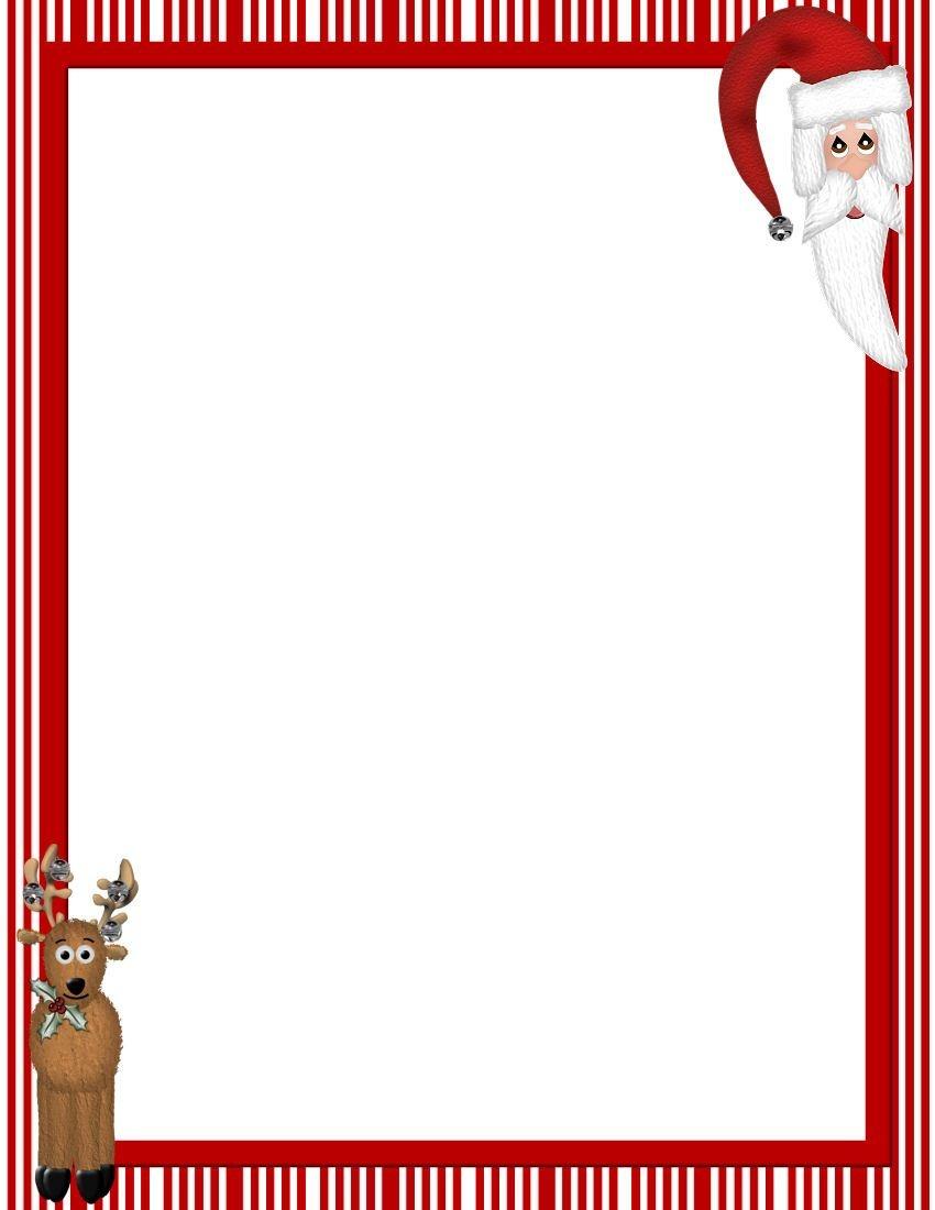 Free Printable Christmas Stationary Borders | Christmasstationery - Free Printable Santa Paper