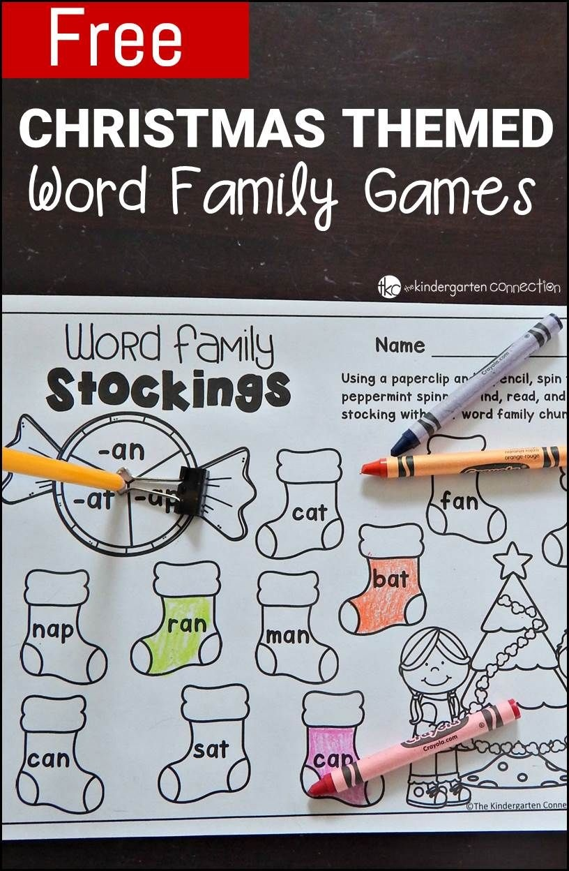 Free Printable Christmas-Themed Word Family Games | Kinderland - Free Printable Word Family Games