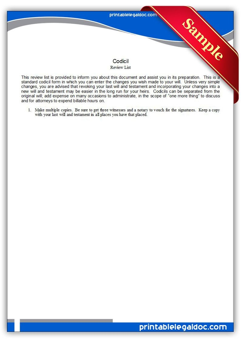 Free Printable Codicil Legal Forms | Free Legal Forms | Online Form - Free Printable Codicil Form