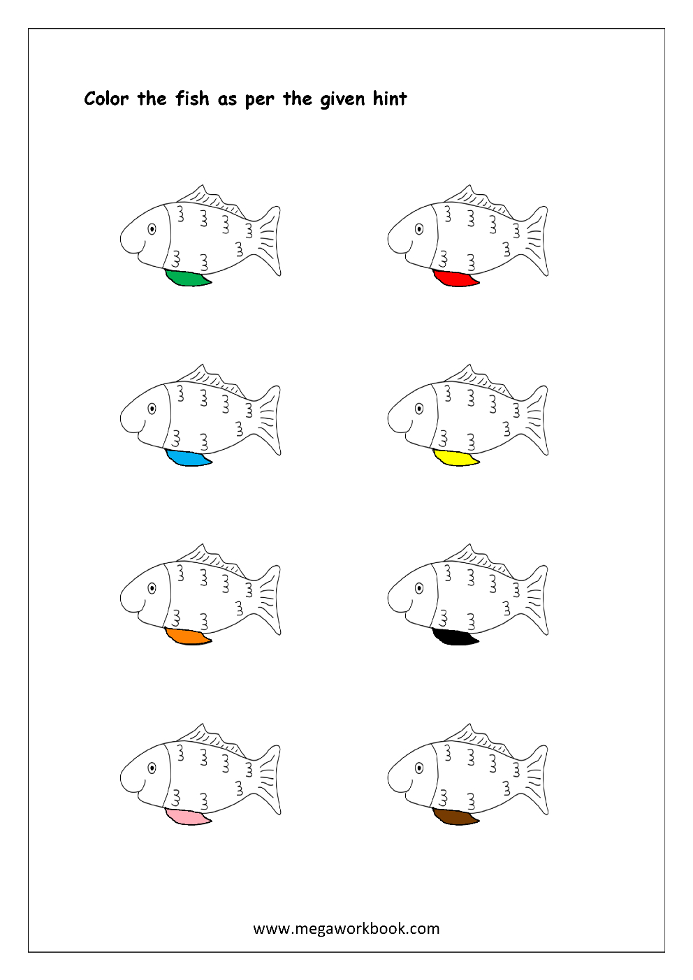Free Printable Color Recognition Worksheets - Colormatching Hint - Color Recognition Worksheets Free Printable