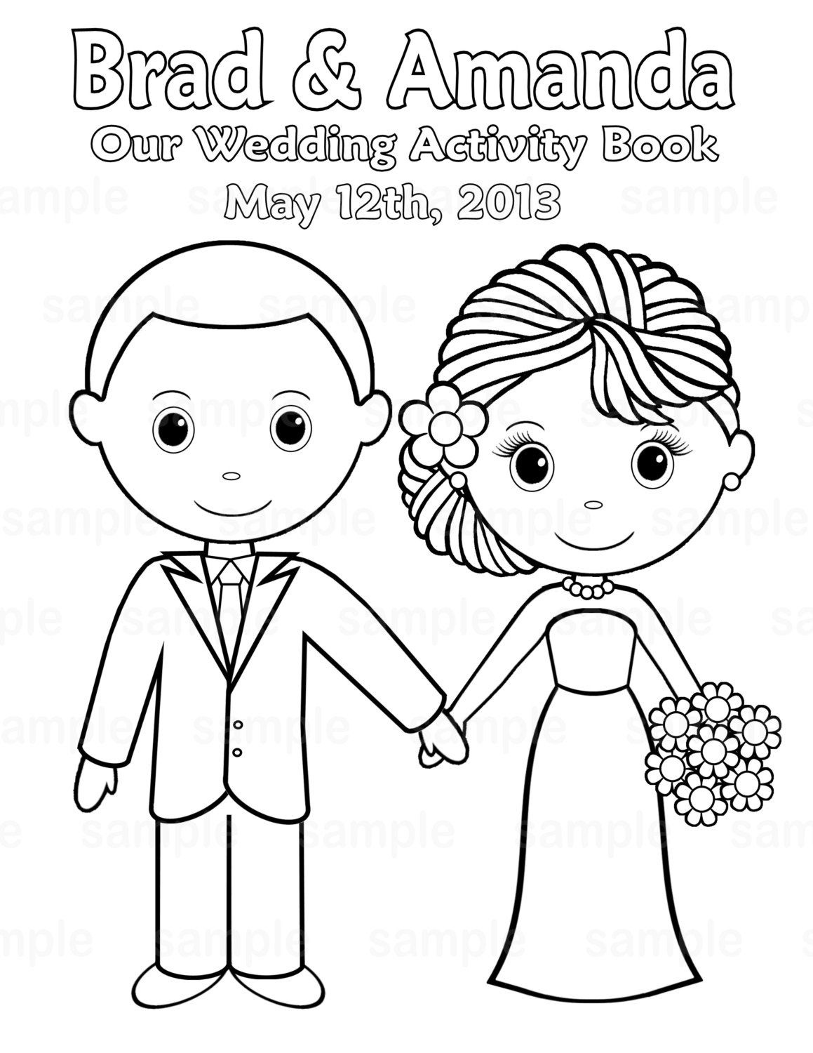 Free Printable Coloring Pictures Wedding   Printable Personalized - Free Printable Personalized Wedding Coloring Book