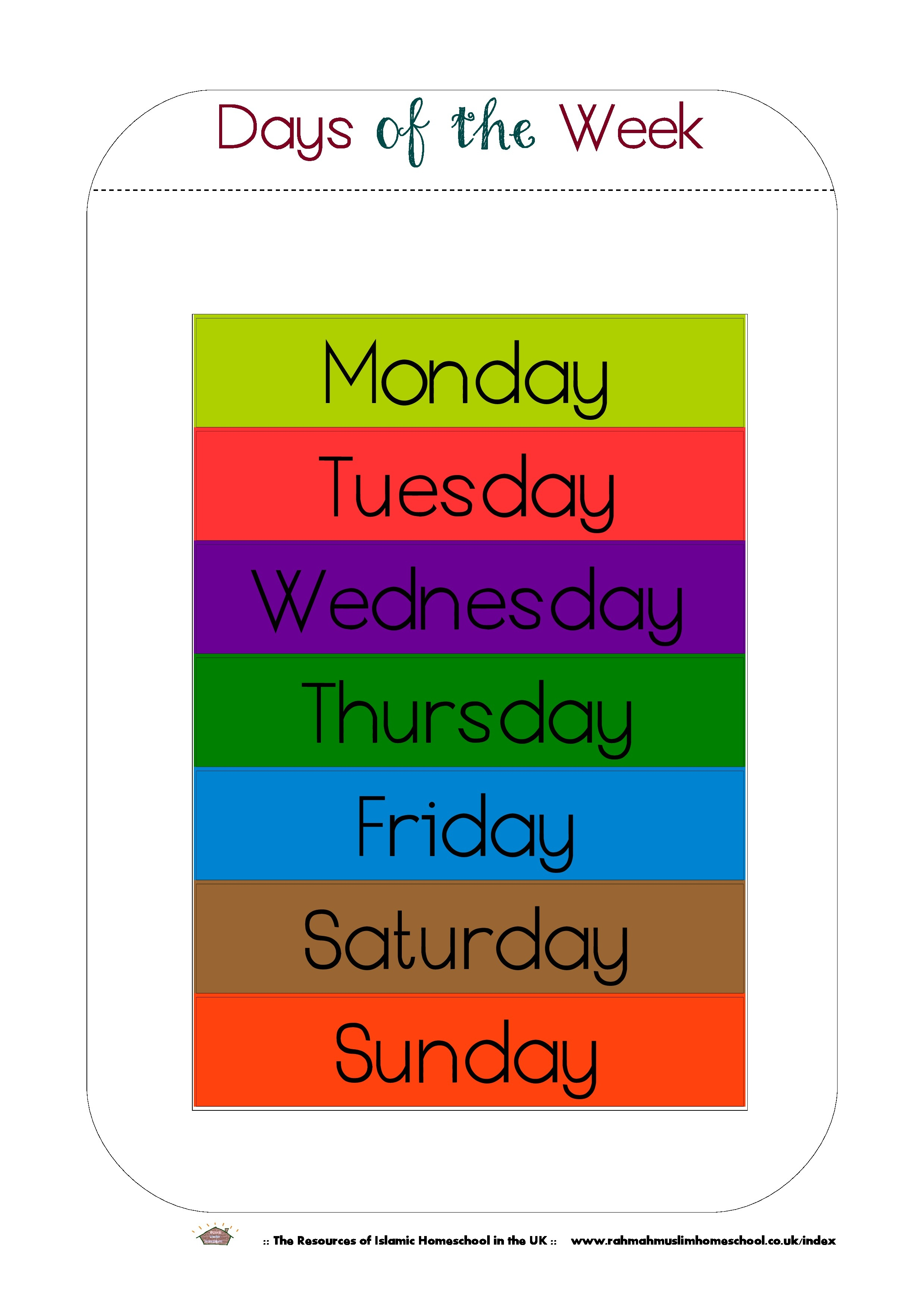 Free Printable Days Of The Week Workbook And Poster | The Resources - Free Printable Preschool Posters