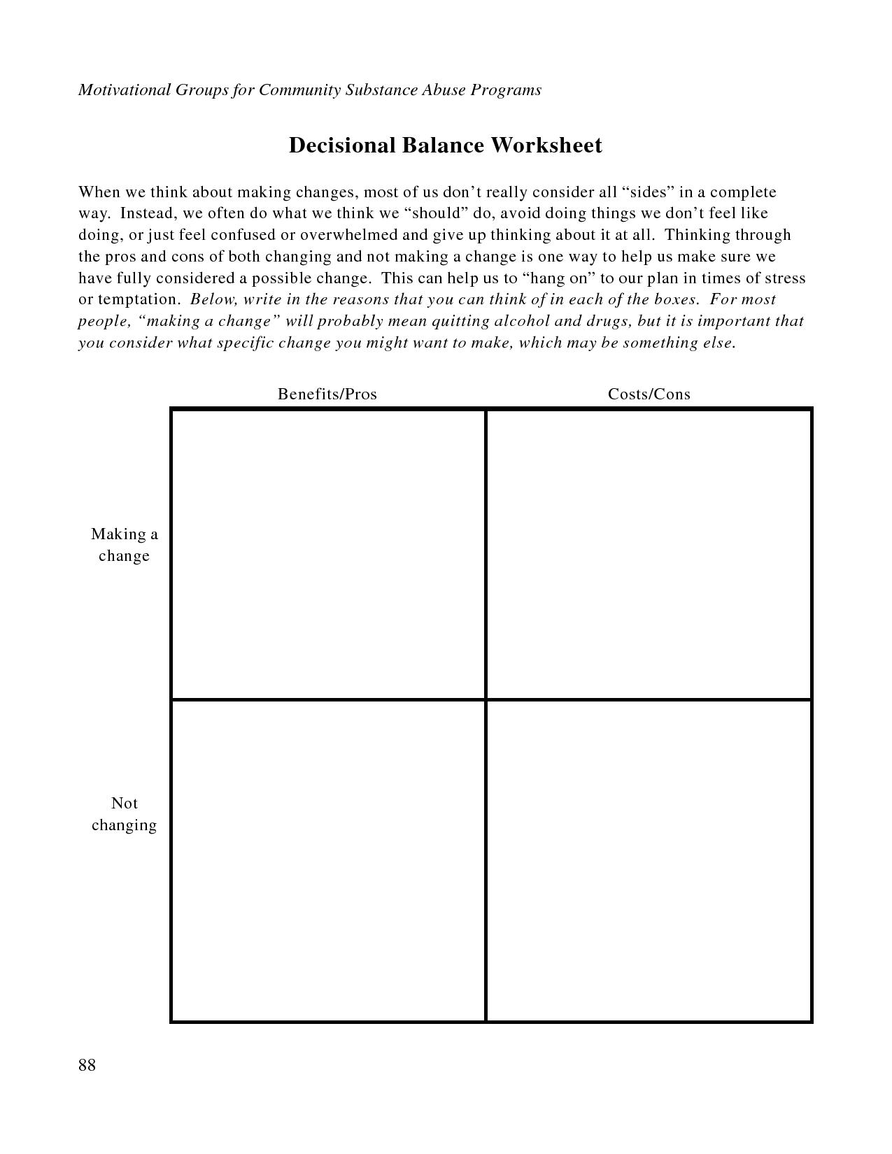 Free Printable Dbt Worksheets   Decisional Balance Worksheet - Pdf - Free Printable Counseling Worksheets