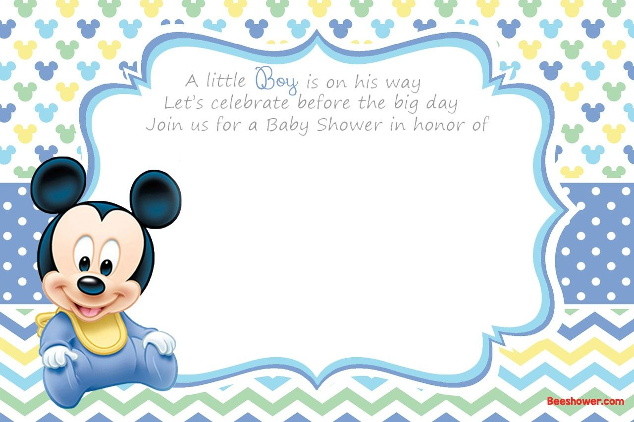 Free Printable Disney Baby Shower Invitations | Baby Shower | Free - Free Printable Baby Mickey Mouse Birthday Invitations