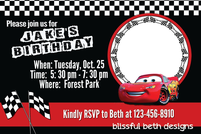 Free Printable Disney Cars Birthday Party Invitations Disney Cars - Free Printable Birthday Invitations Cars Theme