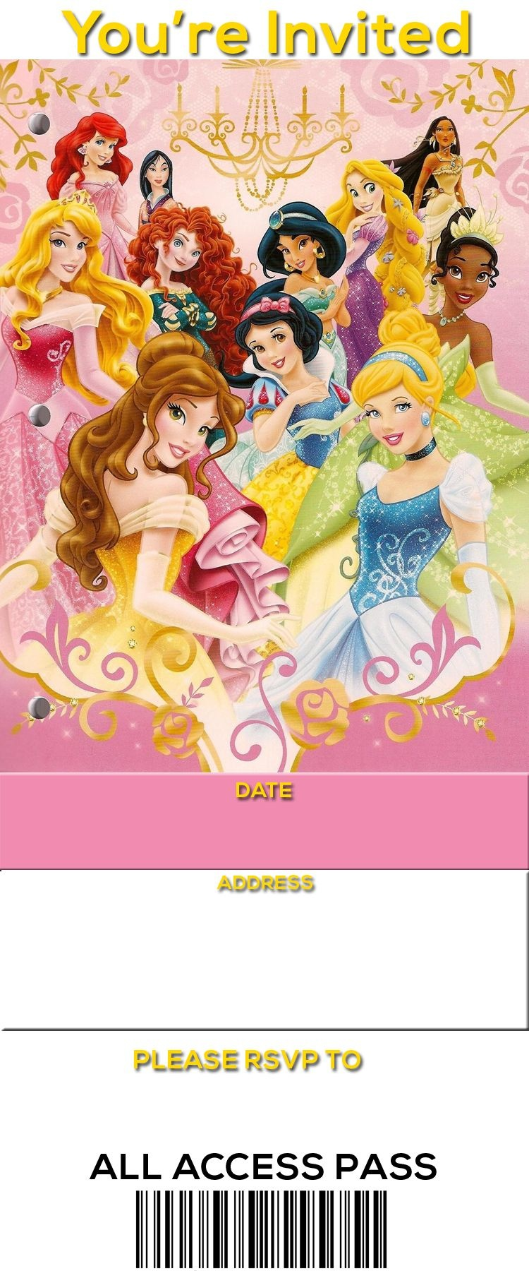 Free Printable Disney Princess Ticket Invitation | Free Printable - Disney Princess Birthday Invitations Free Printable